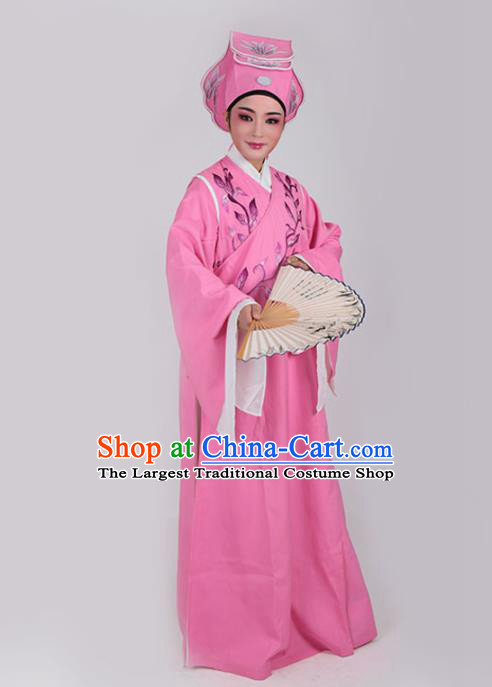 Chinese Traditional Beijing Opera Niche Pink Robe Ancient Scholar Nobility Childe Embroidered Costume for Men