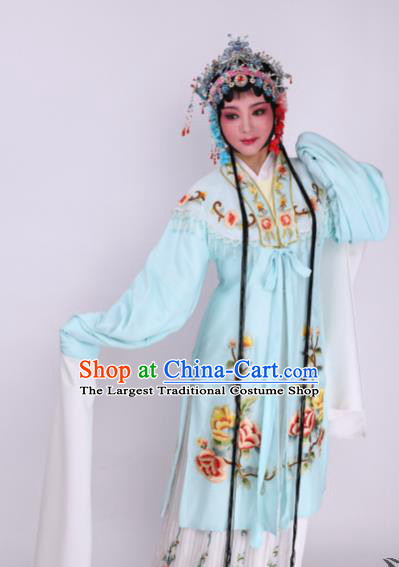 Chinese Traditional Opera Princess Blue Dress Ancient Beijing Opera Diva Embroidered Costume for Women