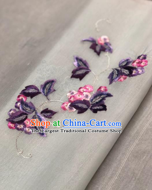 Traditional Chinese Silk Fabric Classical Embroidered Purple Leaf Pattern Design Brocade Fabric Asian Satin Material