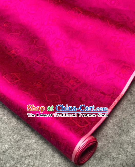 Traditional Chinese Rosy Silk Fabric Classical Peony Pattern Design Brocade Fabric Asian Satin Material
