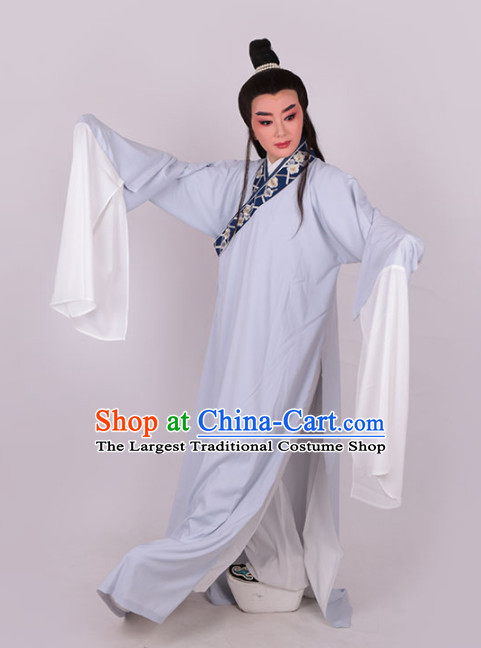 Chinese Traditional Beijing Opera Niche Light Blue Robe Ancient Number One Scholar Costume for Men