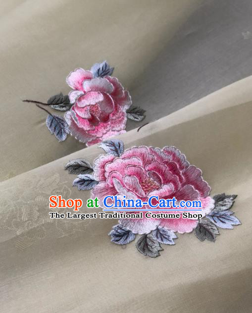 Traditional Chinese Beige Silk Fabric Classical Embroidered Peony Pattern Design Brocade Fabric Asian Satin Material