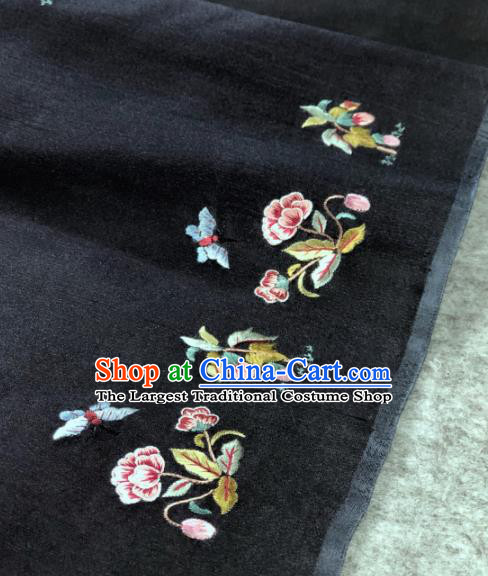 Traditional Chinese Black Silk Fabric Classical Embroidered Pattern Design Brocade Fabric Asian Satin Material