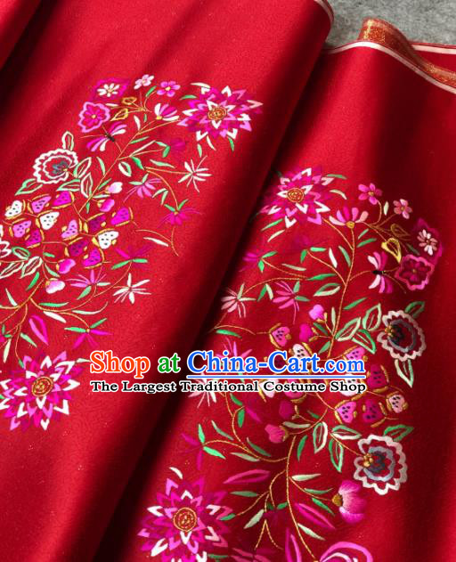 Traditional Chinese Silk Fabric Classical Embroidered Pattern Design Red Brocade Fabric Asian Satin Material