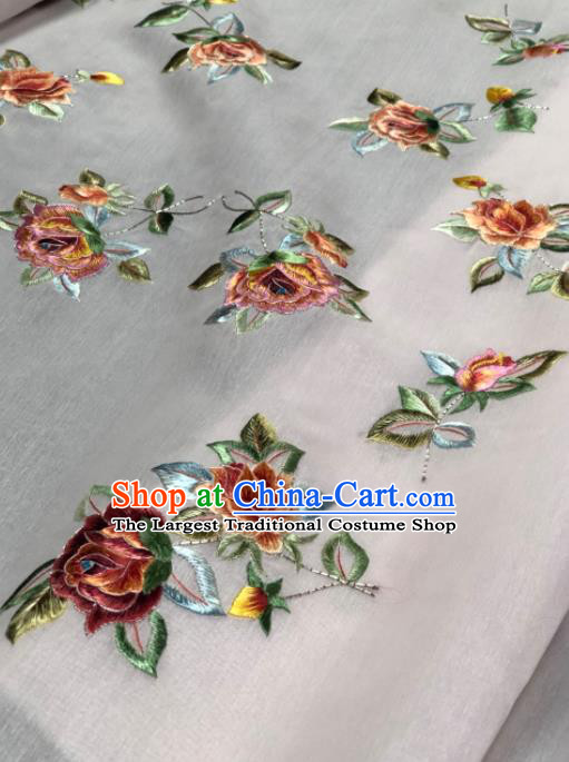 Traditional Chinese White Silk Fabric Classical Embroidered Peony Pattern Design Brocade Fabric Asian Satin Material