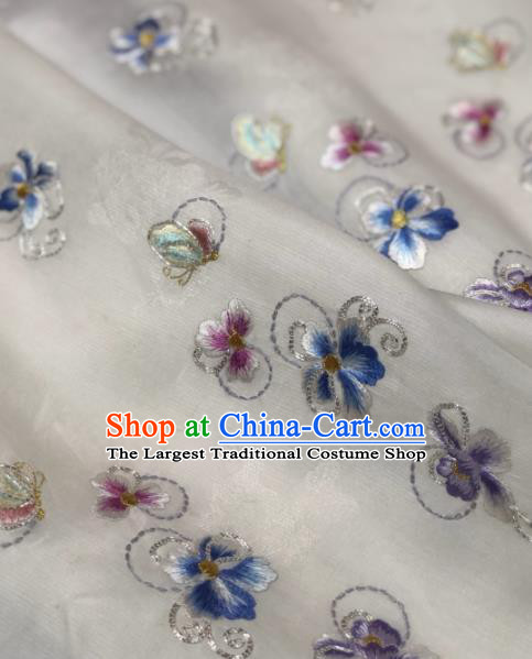 Traditional Chinese Silk Fabric Classical Embroidered Pattern Design White Brocade Fabric Asian Satin Material