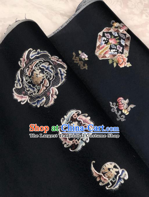 Traditional Chinese Embroidered Silk Fabric Classical Pattern Design Black Brocade Fabric Asian Satin Material