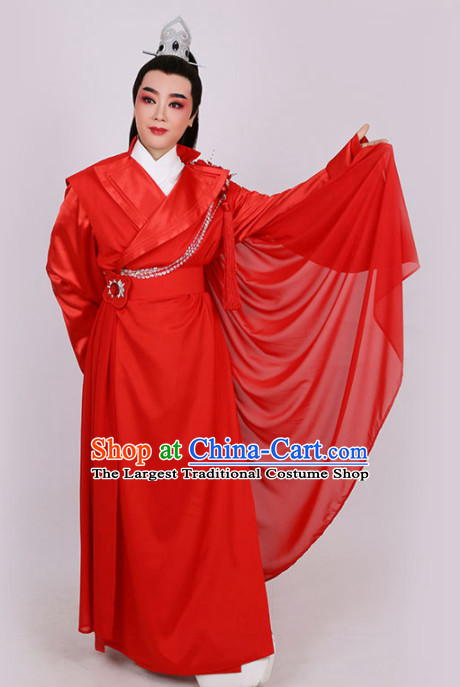 Chinese Traditional Beijing Opera Niche Red Robe Ancient Swordsman Costume for Men