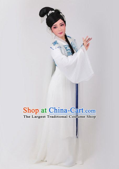 Chinese Traditional Peking Opera Queen Actress Embroidered White Dress Ancient Empress Costume for Women