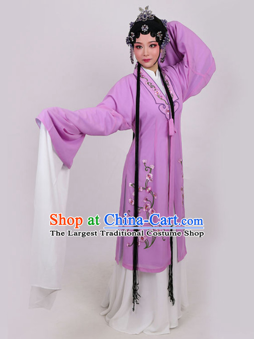 Chinese Traditional Peking Opera Actress Embroidered Purple Dress Ancient Princess Peri Costume for Women