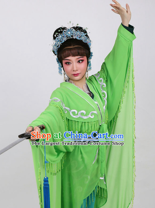 Chinese Traditional Peking Opera Actress Embroidered Green Dress Ancient Swordswoman Xiao Qing Costume for Women