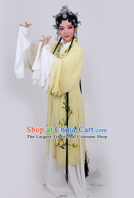 Chinese Traditional Peking Opera Actress Embroidered Yellow Dress Ancient Princess Peri Costume for Women