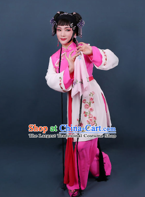 Chinese Traditional Peking Opera Young Lady Embroidered Dress Ancient Maidservants Costume for Women