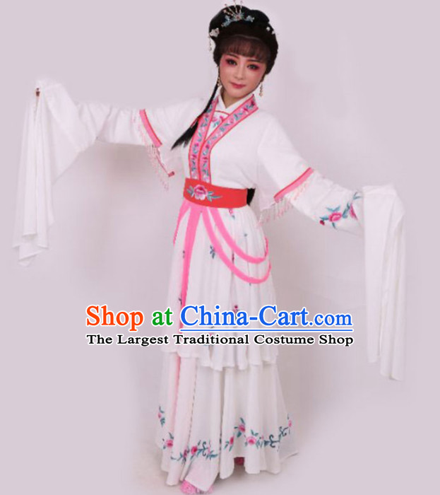 Chinese Traditional Peking Opera Diva White Dress Ancient Court Princess Embroidered Costume for Women