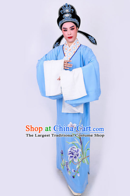 Chinese Traditional Beijing Opera Niche Embroidered Blue Robe Ancient Nobility Childe Costume for Men