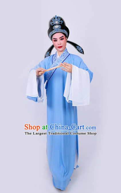 Chinese Traditional Beijing Opera Niche Scholar Embroidered Blue Robe Ancient Nobility Childe Costume for Men