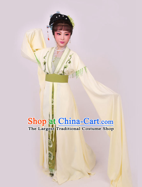 Chinese Traditional Peking Opera Princess Yellow Dress Ancient Court Lady Embroidered Costume for Women