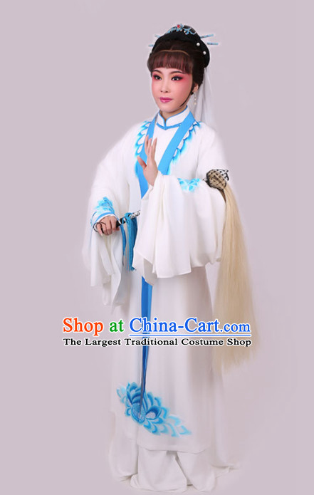 Chinese Traditional Peking Opera Diva White Dress Ancient Taoist Nun Embroidered Costume for Women
