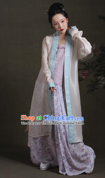 Chinese Ancient Song Dynasty Young Lady Hanfu Dress Traditional Rich Dowager Replica Costume for Women