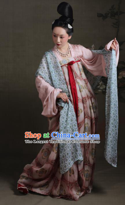 Chinese Ancient Tang Dynasty Pink Hanfu Dress Traditional Court Maid Replica Costume for Women