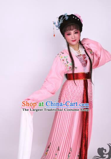 Chinese Traditional Opera Court Lady Pink Dress Ancient Beijing Opera Diva Embroidered Costume for Women