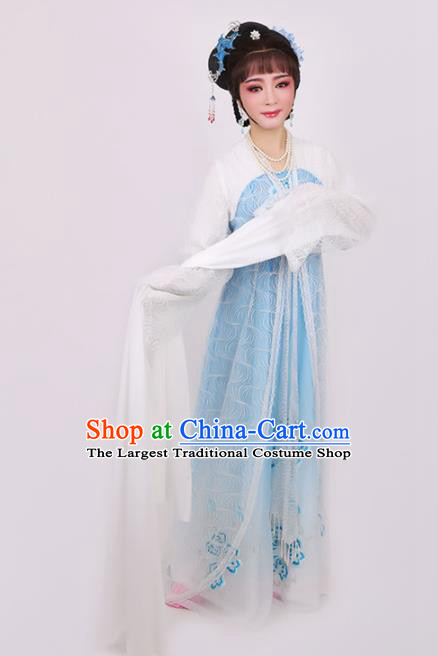 Chinese Traditional Opera Peri Princess Blue Dress Ancient Beijing Opera Diva Embroidered Costume for Women