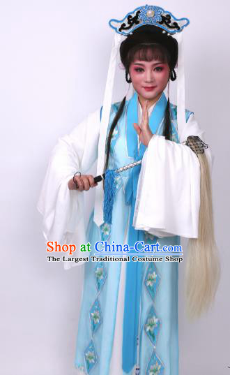 Chinese Traditional Opera Taoist Nun Blue Dress Ancient Beijing Opera Diva Embroidered Costume for Women