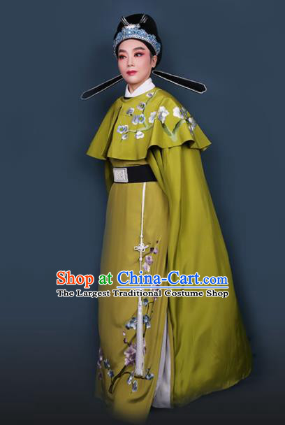 Chinese Traditional Beijing Opera Niche Olive Green Robe Ancient Scholar Nobility Childe Costume for Men