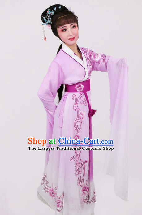 Chinese Traditional Opera Peri Princess Purple Dress Ancient Beijing Opera Diva Embroidered Costume for Women