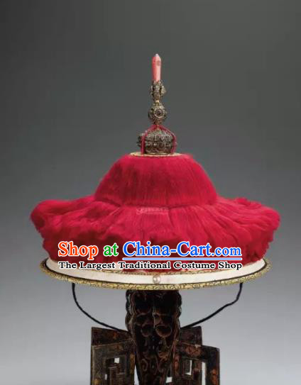 Chinese Ancient Drama Manchu Emperor Hat Traditional Qing Dynasty Minister Headwear for Men