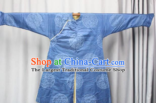Chinese Traditional Drama Manchu Costume Ancient Qing Dynasty Emperor Blue Robe for Men