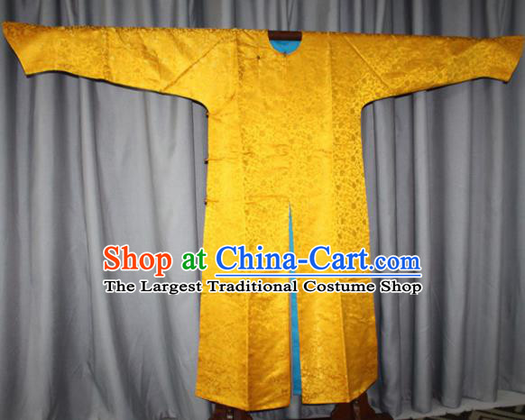 Chinese Traditional Drama Manchu Costume Ancient Qing Dynasty Emperor Golden Imperial Robe for Men