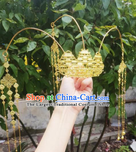 Chinese Ancient Princess Hairpins Palace Golden Tassel Phoenix Coronet Traditional Hanfu Hair Accessories for Women