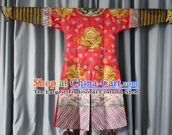 Chinese Traditional Drama Manchu Costume Ancient Qing Dynasty Emperor Red Imperial Robe for Men