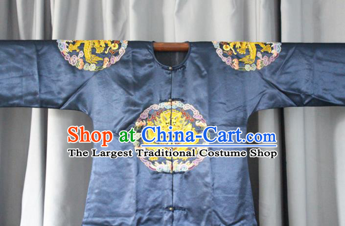 Chinese Traditional Drama Manchu Navy Costume Ancient Qing Dynasty Emperor Imperial Robe for Men