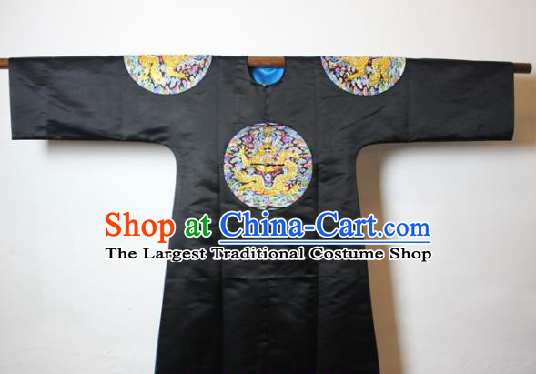 Chinese Traditional Drama Manchu Black Costume Ancient Qing Dynasty Emperor Imperial Robe for Men