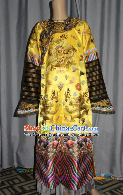 Chinese Traditional Drama Manchu Golden Costume Ancient Qing Dynasty Emperor Imperial Robe for Men