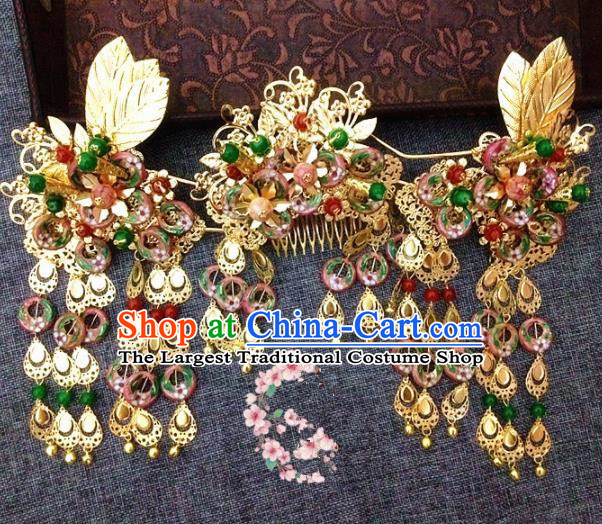 Chinese Ancient Princess Tassel Phoenix Coronet Hairpins Traditional Hanfu Palace Wedding Hair Accessories for Women