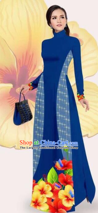 Asian Vietnam Traditional Printing Navy Dress Vietnamese Classical Ao Dai Cheongsam for Women