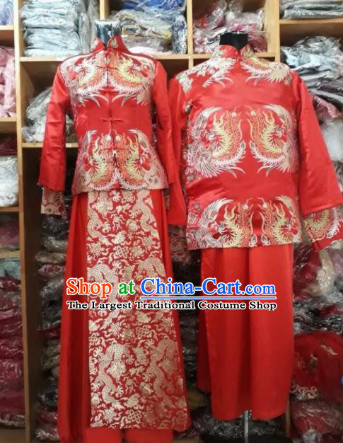 Asian Vietnam Traditional Wedding Red Costumes Vietnamese National Bride and Bridegroom Ao Dai Clothing Complete Set