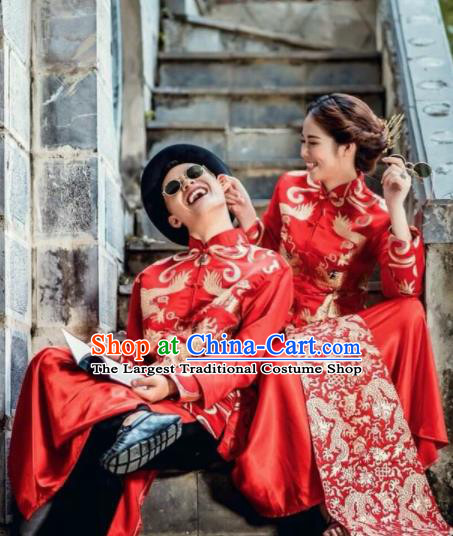 Asian Vietnam Traditional Wedding Costumes Vietnamese National Bride and Bridegroom Ao Dai Clothing Complete Set