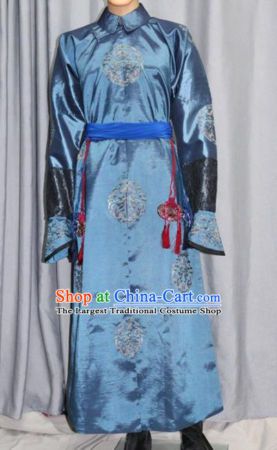 Chinese Traditional Drama Costume Ancient Qing Dynasty Manchu Eunuch Clothing for Men
