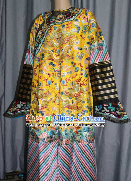 Chinese Traditional Drama Costume Ancient Qing Dynasty Emperor Embroidered Golden Dragon Robe for Men