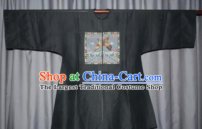 Chinese Traditional Drama Manchu Costume Ancient Qing Dynasty Minister Black Robe for Men