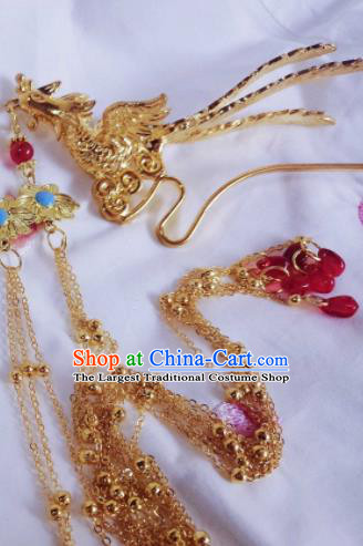 Chinese Ancient Palace Queen Golden Phoenix Tassel Hairpins Traditional Hanfu Hair Accessories for Women