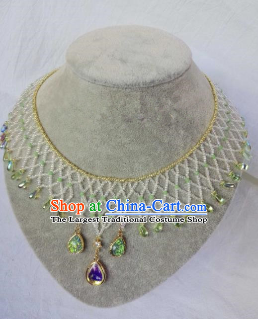 Chinese Ancient Palace Princess Green Crystal Necklace Traditional Hanfu Jewelry Accessories for Women