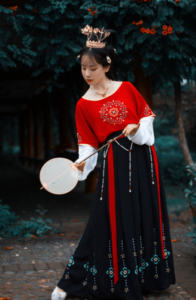 Chinese Traditional Classical Dance Hanfu Dress Ancient Tang Dynasty Court Lady Embroidered Historical Costume for Women