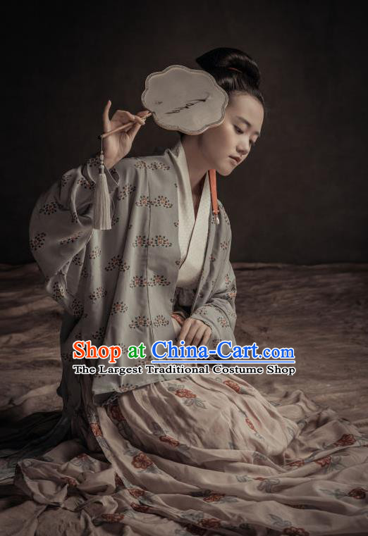 Chinese Ancient Song Dynasty Young Mistress Hanfu Dress Traditional Dowager Replica Costume for Women