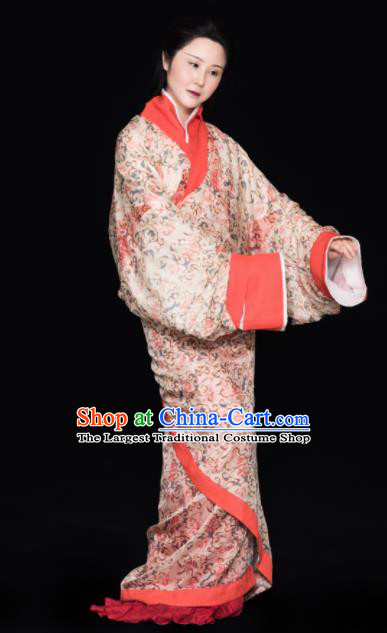 Chinese Ancient Han Dynasty Court Princess Replica Costume Traditional Courtesan Hanfu Dress for Women