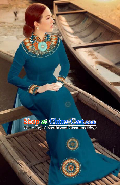 Asian Vietnam Traditional Bride Navy Dress Vietnamese National Classical Ao Dai Cheongsam for Women
